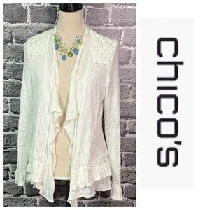 Chico's Crocheted White Waterfall Cardigan Sz M 1